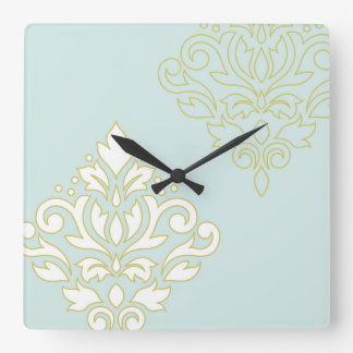 Scroll Damask Art I (outline) Wt Gld Lt Teal Square Wall Clock