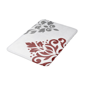 Scroll Damask Art I Red & Grey on White Bath Mat