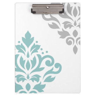 Scroll Damask Art I Teal & Grey on White Clipboard
