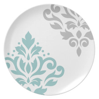 Scroll Damask Art I Teal & Grey on White Party Plate