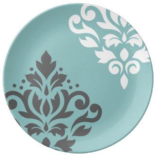 Scroll Damask Art I Teal & Grey on White Porcelain Plates