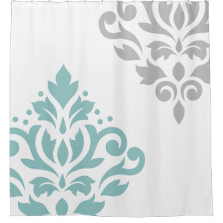 Scroll Damask Art I Teal & Grey on White Shower Curtain
