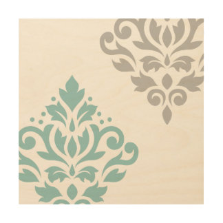 Scroll Damask Art I Teal & Grey on White Wood Canvases