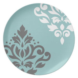 Scroll Damask Art I White & Grey on Light Teal Party Plate