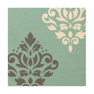 Scroll Damask Art I White & Grey on Light Teal Wood Canvases