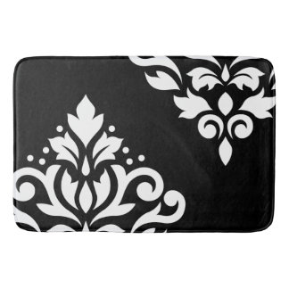Scroll Damask Art I White on Black Bath Mats