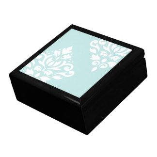 Scroll Damask Art I White on Duck Egg Blue Large Square Gift Box