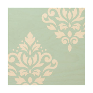 Scroll Damask Art I White on Duck Egg Blue Wood Canvas
