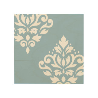 Scroll Damask Art II White on Light Blue Wood Canvases