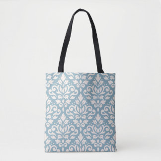 Scroll Damask Big Pattern Cream on Blue Tote Bag