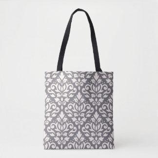 Scroll Damask Big Pattern Cream on Gray Tote Bag