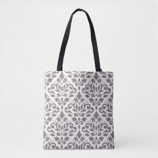 Scroll Damask Big Pattern Gray on Cream Tote Bag