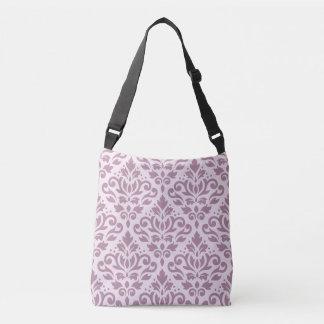 Scroll Damask Big Pattern Mauve on Pink Crossbody Bag