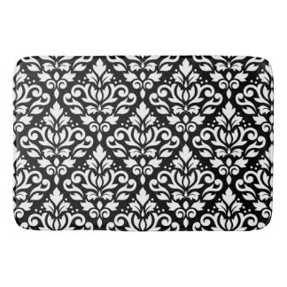 Scroll Damask Big Pattern White on Black Bath Mats