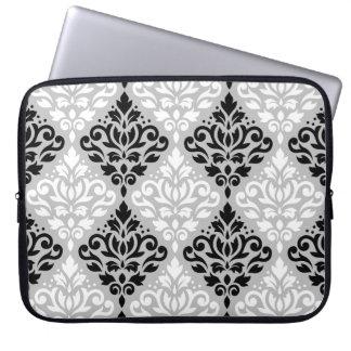 Scroll Damask Big Ptn B&W on Gray Laptop Sleeve