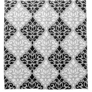 Scroll Damask Big Ptn B&W on Gray Shower Curtain
