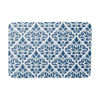 Scroll Damask Big Ptn Dk Blue on White Bath Mat