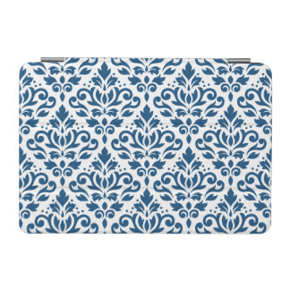 Scroll Damask Big Ptn Dk Blue on White iPad Mini Cover