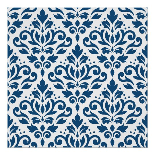 Scroll Damask Big Ptn Dk Blue on White Poster