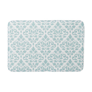 Scroll Damask Big Ptn Duck Egg Blue (B) on White Bath Mat