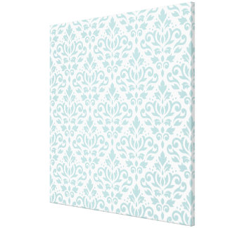 Scroll Damask Big Ptn Duck Egg Blue (B) on White Canvas Print