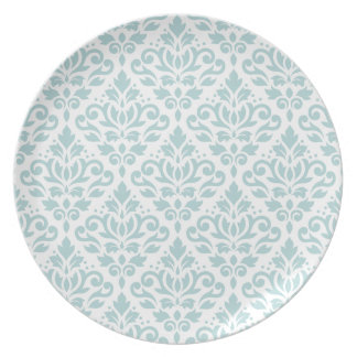 Scroll Damask Big Ptn Duck Egg Blue (B) on White Party Plate