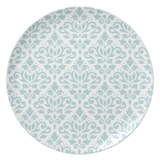 Scroll Damask Big Ptn Duck Egg Blue (B) on White Plate