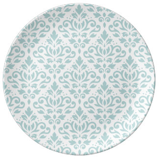 Scroll Damask Big Ptn Duck Egg Blue (B) on White Porcelain Plates