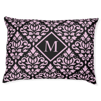Scroll Damask Big Ptn Pink on Blk (Personalized) Pet Bed