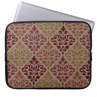 Scroll Damask Big Ptn Reds Orange Gold Taupe Laptop Sleeve