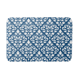 Scroll Damask Big Ptn White on Dk Blue Bath Mat