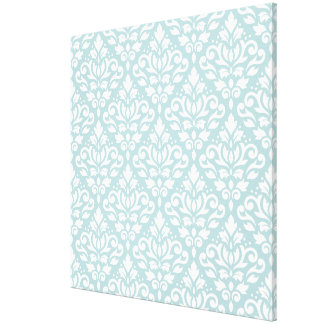 Scroll Damask Big Ptn White on Duck Egg Blue (B) Canvas Print