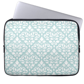 Scroll Damask Big Ptn White on Duck Egg Blue (B) Laptop Sleeve