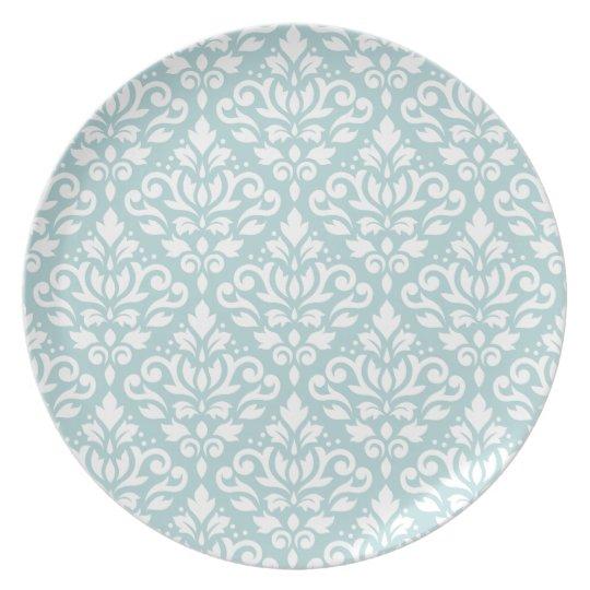 Scroll Damask Big Ptn White on Duck Egg Blue (B) Plate