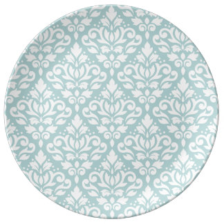 Scroll Damask Big Ptn White on Duck Egg Blue (B) Porcelain Plates