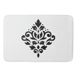 Scroll Damask Design Black Bath Mat