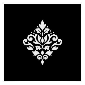 Scroll Damask Design White on Black