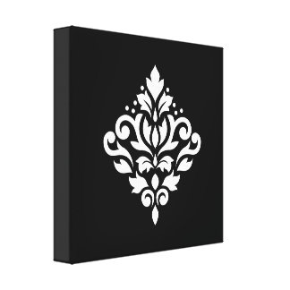 Scroll Damask Design White on Black Canvas Print