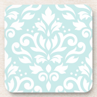 Scroll Damask Design White on Duck Egg Blue Coaster