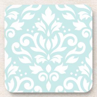 Scroll Damask Design White on Duck Egg Blue Drink Coasters