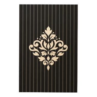 Scroll Damask Design White on Gray Stripes & Black Wood Wall Decor