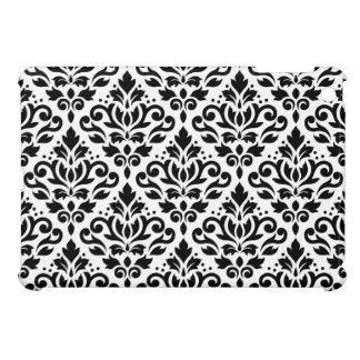 Scroll Damask Horizontal Pattern Black on White iPad Mini Covers