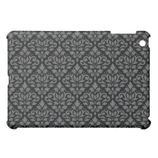Scroll Damask Horizontal Rpt Ptn Grey on Black iPad Mini Cover