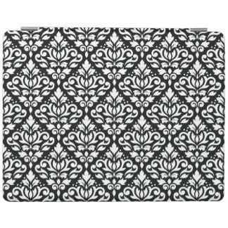 Scroll Damask Horizontal Rpt Ptn White on Black iPad Cover