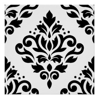 Scroll Damask Large Design (B) Black on White Poster