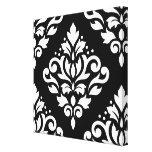 Scroll Damask Large Design (B) White on Black Canvas Prints