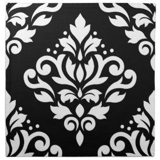Scroll Damask Large Design (B) White on Black Napkin