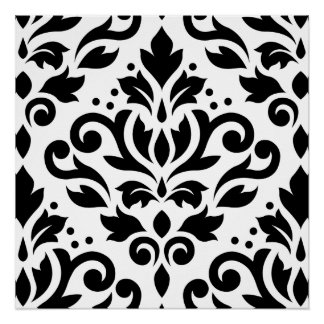 Scroll Damask Large Design Black on White