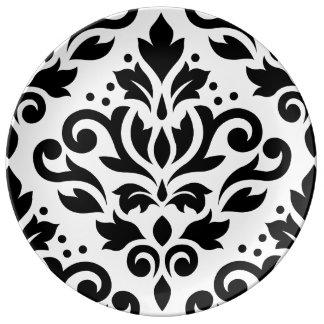 Scroll Damask Large Design Black on White Plate