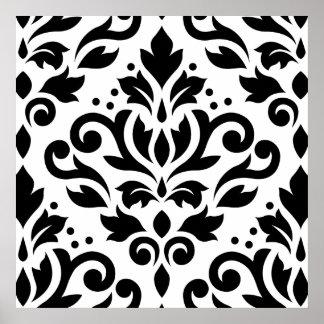 Scroll Damask Large Design Black on White Posters